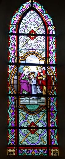 Ensemble des verrières de la nef: Scènes de la vie de la Vierge et verrières décoratives