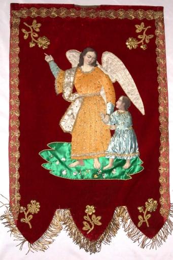 Bannière de procession: Ange gardien, Enfan-Jésus roi