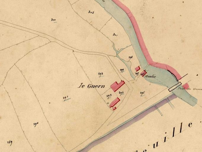 Écart, le Moulin du Guern (Talensac) ; Moulin à blé du Guern, puis minoterie, actuellement maison (Talensac)