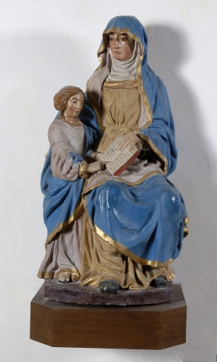 Groupe sculpté: Education de la Vierge