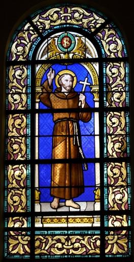 Six verrières et deux verrières figurées: saint François d'Assise; saint Antoine de Padoue