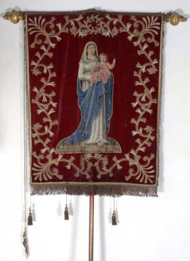 Bannière de procession: Christ en croix et Vierge à l'Enfant