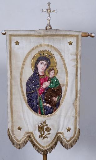 Bannière de procession: Notre-Dame de Perpétuel secours et Louis Marie Grignon de Montfort