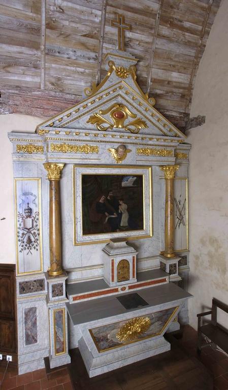 Ensemble de l'autel du Christ: autel, tabernacle, gradin d'autel, degré d'autel, retable (Saint-Aubin-du-Pavail fusionnée en Châteaugiron en 2017)