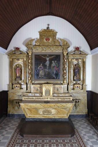 Ensemble du maître-autel: autel, tabernacle, 2 gradins d'autel, retable, degré d'autel