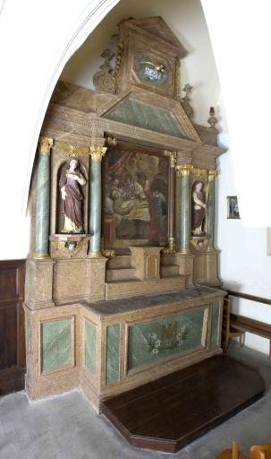 Ensemble de l'autel de la Vierge: autel, tabernacle, 2 gradins d'autel, retable, degré d'autel