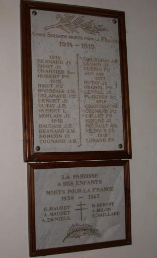 Tableau commémoratif des morts des deux premières guerres mondiales