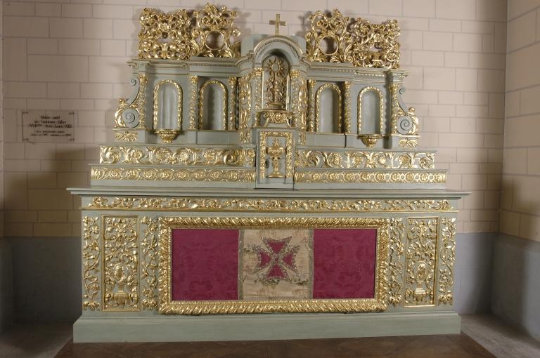 Ensemble de l'ancien maître-autel: autel, 2 tabernacles, exposition, retable, tableau d 'autel