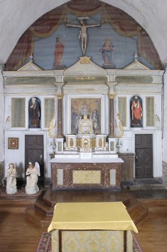Ensemble du maître-autel: autel, tabernacle, exposition, gradin d'autel, retable, 3 degrés d'autel