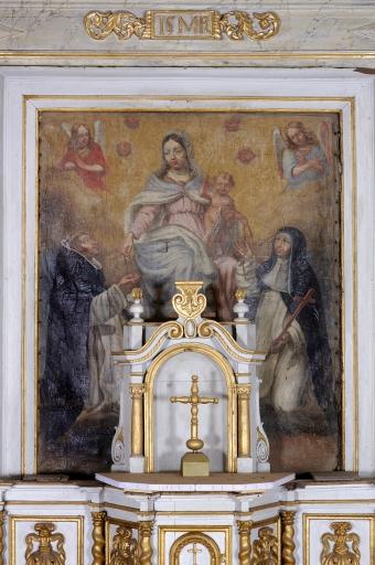 Tableau d'autel: Don du Rosaire à saint Dominique et à sainte Catherine de Sienne