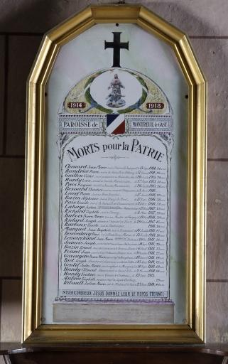 Tableau commémoratif des morts de la guerre 1914-1918