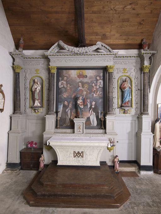 Ensemble de l'autel secondaire nord: autel, tabernacle, retable, 2 gradins d'autel, église Saint-Malo (Monterrein fusionnée en Ploërmel en 2019)