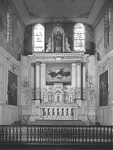 Autel, tabernacle, retable (maître-autel, autel table, tabernacle à ailes, retable architecturé)