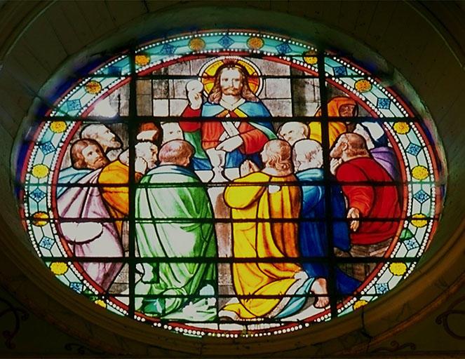 2 verrières figurées : la Remise du scapulaire à saint Simon Stock, Institution de l'Eucharistie