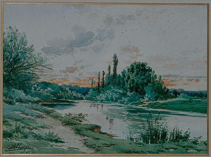 Dessin : bord de la Marne au soleil couchant