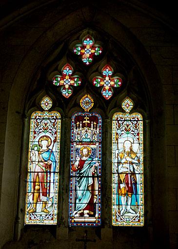 Verrière à personnages : saint Louis, Salvator mundi, sainte Jeanne d'Arc (baie 0)