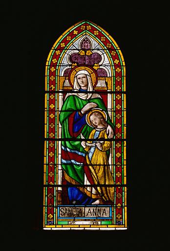verrière : sainte Anne apprenant à lire à la Vierge