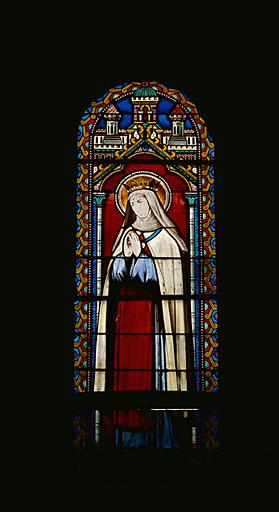 3 verrières figurées : Immaculée Conception, saint Louis, sainte Jeanne de Valois