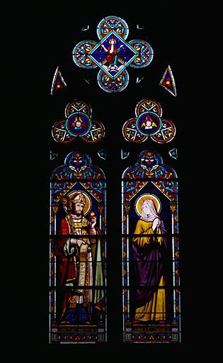 2 verrières figurées : saint Augustin, sainte Monique, Christ glorieux, grisaille décorative