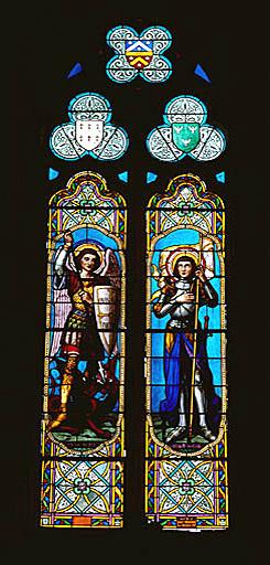 Verrière à personnages : saint Michel, sainte Jeanne d'Arc