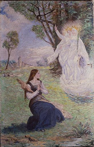 2 tableaux (paire) : Jeanne d'Arc entendant des voix, Jeanne d'Arc sur le bûcher