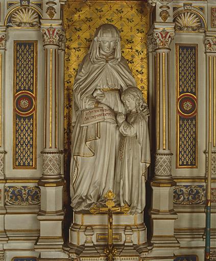 Groupe sculpté (petite nature) : sainte Anne et la Vierge.