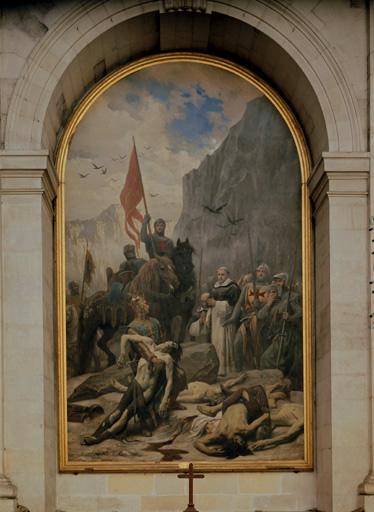 Tableau : saint Louis enterrant les croisés.