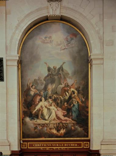 Tableau : chrétiens sur le bûcher.