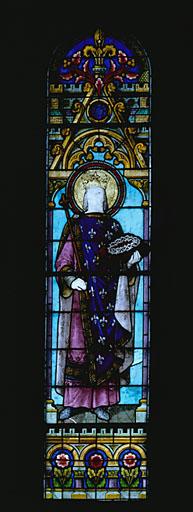 2 verrières figurées : Sacré-Coeur, saint Louis