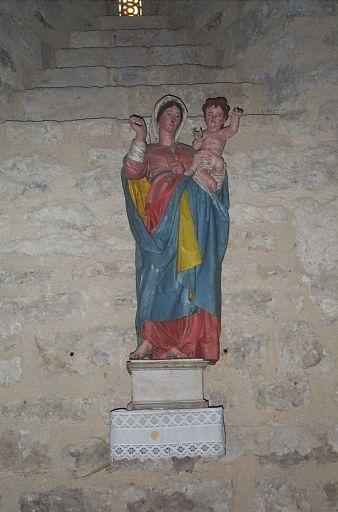 Statue: Vierge à l'Enfant ; Présentation des objets mobiliers du prieuré Notre-Dame