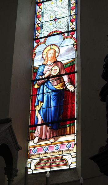 Ensemble de 3 verrières : Sacré-Coeur, Charité de saint Martin, Sainte Clotilde (baies 0 à 2)