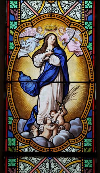 Ensemble de 5 verrières : Immaculée Conception, Annonciation, Pentecôte, Ascension, Martyre de sainte Agnès (baies 3 à 5, 7, 10)