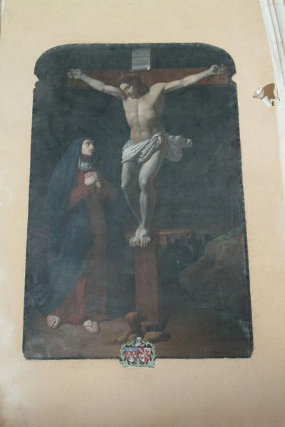 tableau : Le Christ en croix avec la Vierge
