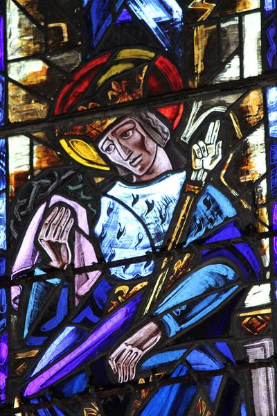 Ensemble de 15 verrières : Christ Roi, Saint Blaise, Saint Martin, Saint Jean, Saint Louis, Saint Pierre, symboles (baies 0 à 5, 7 à 9, 11 à 15, 101)