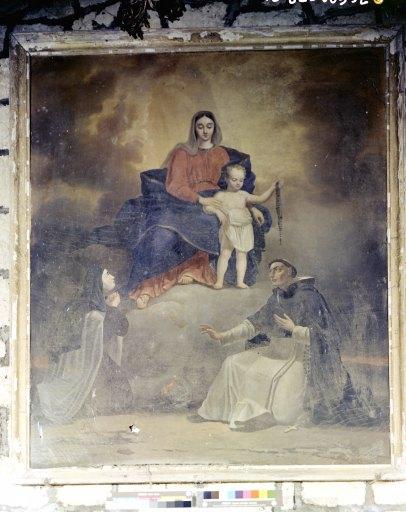 Tableau : rosaire avec saint Dominique et sainte Catherine de Sienne