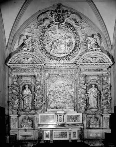 Retable (retable architecturé à niche) : scènes de la vie de sainte Marie-Madeleine, style baroque