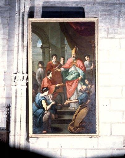 Tableau : saint évêque bénissant