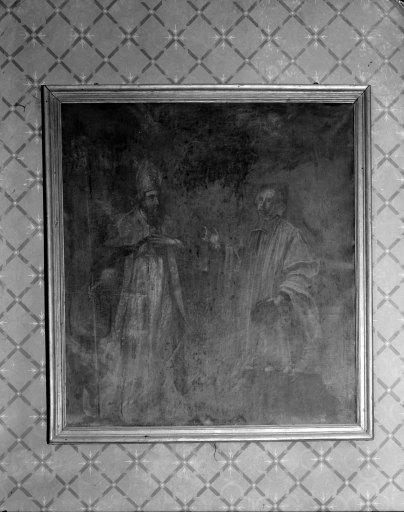 Tableau et son cadre : Saint évêque et un magistrat (saint Yves ?)