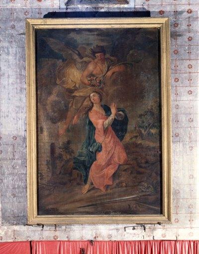 Tableau et son cadre : Sainte Barbe couronnée par un ange et recevant la palme du martyre