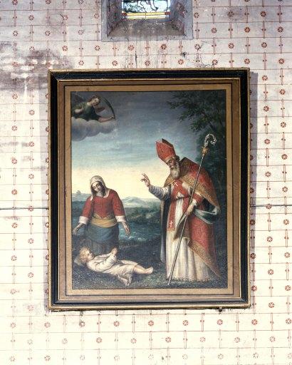 Tableau ex-voto et son cadre : Saint Aignan ressuscitant un enfant noyé