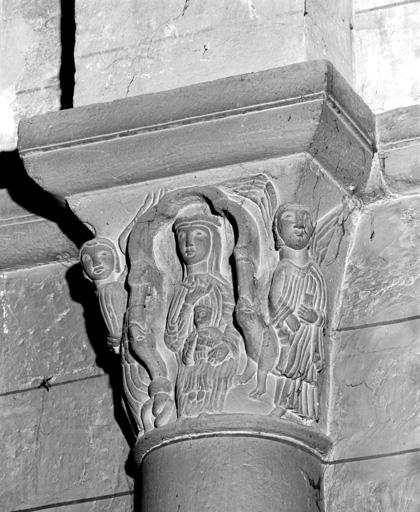 Chapiteaux (11), culot : Vierge à l' Enfant, Baptême du Christ, Calvaire, Péché originel