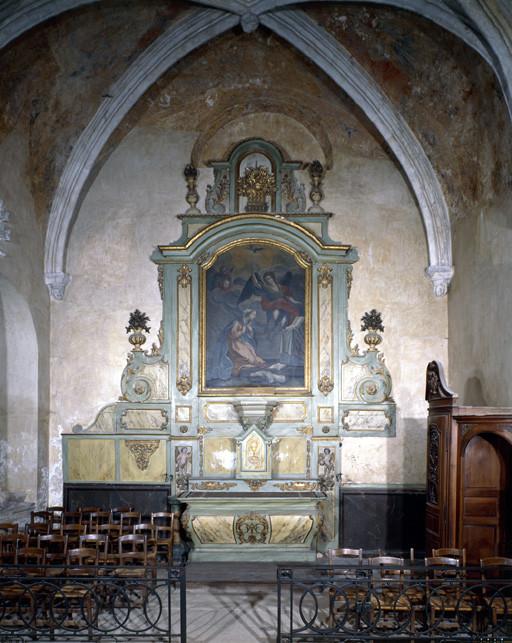 Ensemble de l' autel secondaire de la 3e chapelle nord (autel, tabernacle, retable)
