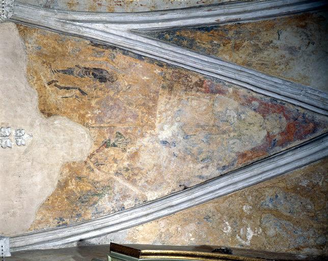 peinture monumentale de la rencontre des trois morts et des trois vifs