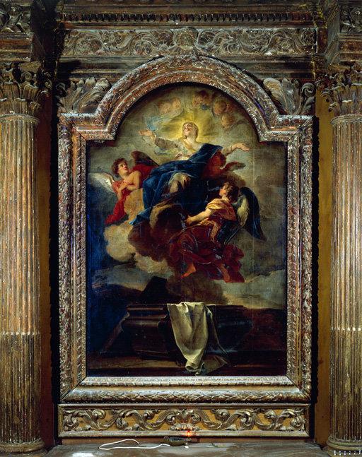 tableau d'autel : Assomption de la Vierge.