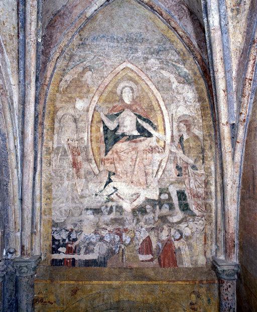 Peinture monumentale : Jugement dernier ; Couronnement de la Vierge ; Le Dit des trois morts et des trois vifs ; Calvaire