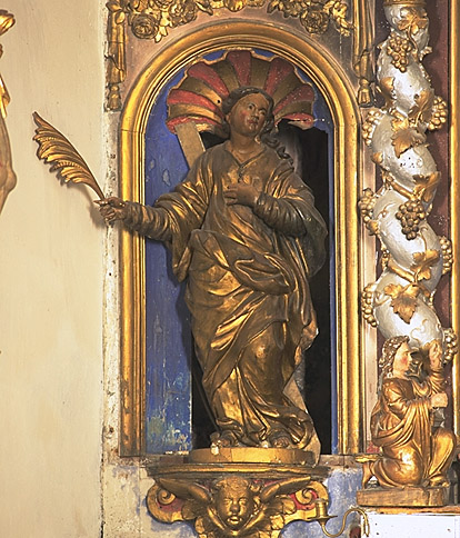 Statues (2) : sainte Eulalie, saint évêque