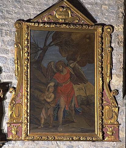 Ensemble d'un cadre-retable et de son tableau : l'Ange gardien avec Tobie