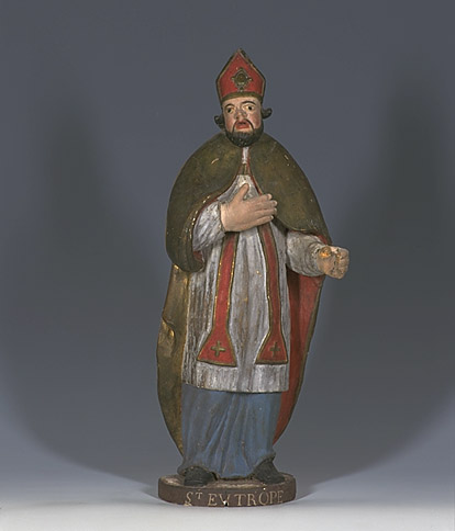 Ensemble de 2 statues : saint Blaise, saint Eutrope