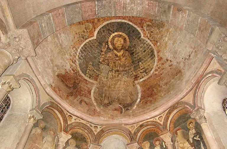 Peinture monumentale du cul-de-four du choeur : Christ en majesté