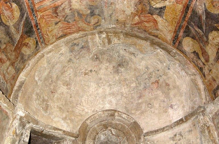 peinture monumentale de l'absidiole nord : Jérusalem céleste et Vierge au lait